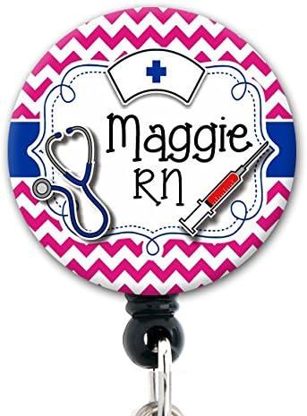 Retractable Badge Nurse Badges Badge Holder Personalized Chevron Badge Reel