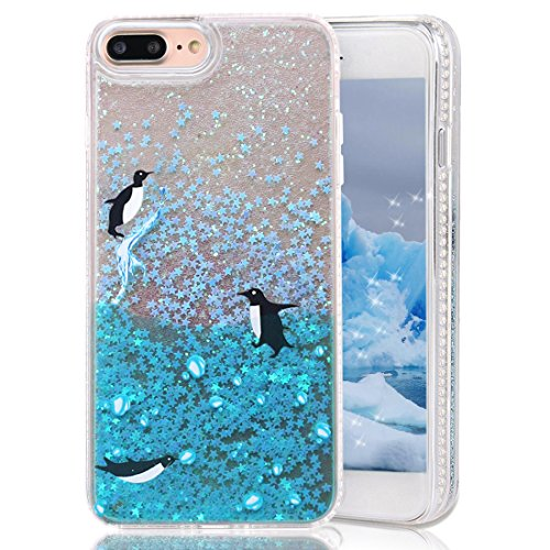 (iPhone 8 Plus Case,iPhone 7 Plus Case,CRAZY PANDA Creative Glitter Case with Soft TPU Border and 3D Free-Moving Bling Sparkle Stars for iPhone 7 Plus/iPhone 8 plus - Penguin)