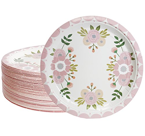 Disposable Plates - 80-Count Paper Plates, Vintage Floral Party Supplies for Appetizer, Lunch, Dinner, and Dessert, Bridal Showers, Weddings, 9 inches in Diameter