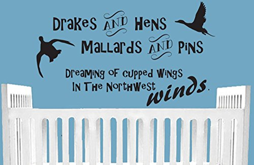 kiskistonite Drakes And Hens Mallards And Pins Dreaming Of Cupped Wings In Northwest Winds Duck Hunting Wall Decal Nursery Hunting Baby Bedroom Decor Decoration For Living Room Bedroom ()