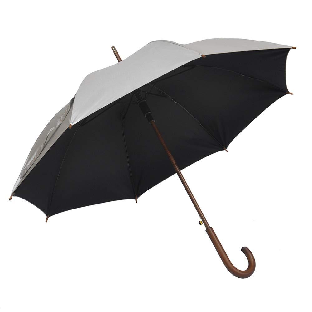 SoulRain Windproof Classic Umbrella With Wood Hook Handle, Auto Open Unbreakable Black With Silver Coating Rain Umbrella
