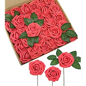 D-Seven Artificial Flowers 30PCS Real Looking Fake Roses with Stem for DIY Wedding Bouquets Centerpieces Party Baby Shower Home Decorations (Coral) 118