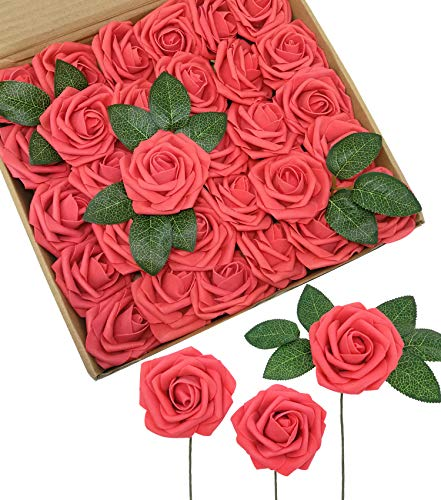 D-Seven Artificial Flowers 30PCS Real Looking Fake Roses with Stem for DIY Wedding Bouquets Centerpieces Party Baby Shower Home Decorations