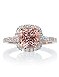 1.5 Carat Perfect Cushion Morganite and Diamond Engagement Ring on 10k Rose Gold