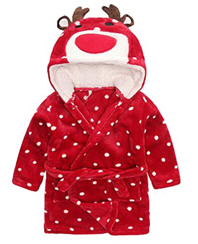 Toddler Kids Cartoon Hooded Plush Robe Animal Pajamas Fleece Bathrobe Children Sleepwear (3T, Christmas Deer) -