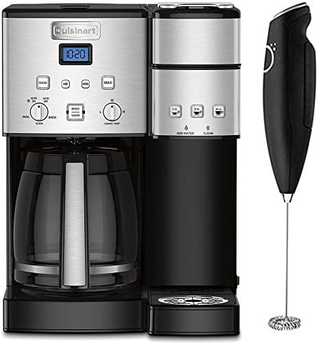 Cuisinart 12-Cup Coffee Maker and Single-Serve Brewer Stainless Steel SS-15 Bundle with Deco Gear Milk Frother - Handheld Electric Foam Maker for Coffee, Latte, Cappuccino