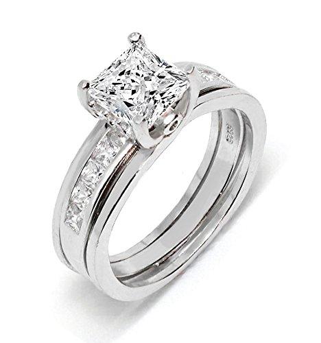 Venetia Supreme Realistic Top Grade Princess Cut Simulated Diamond Ring Set Platiinum Plated Solid 925 Silver cubic zirconia cz ()
