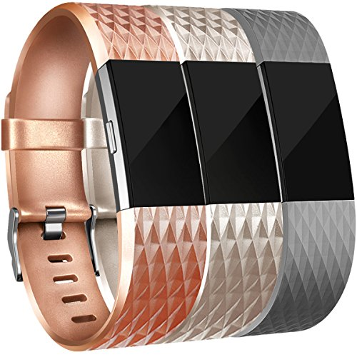 (Amzpas for Fitbit Charge 2 Bands, 3 Pack, Small Large Adjustable Replacement Accessory Wristbands Bracelet for Fitbit Charge 2 Women & Men (#Special:Bronze+Champagne+Gray, Small))
