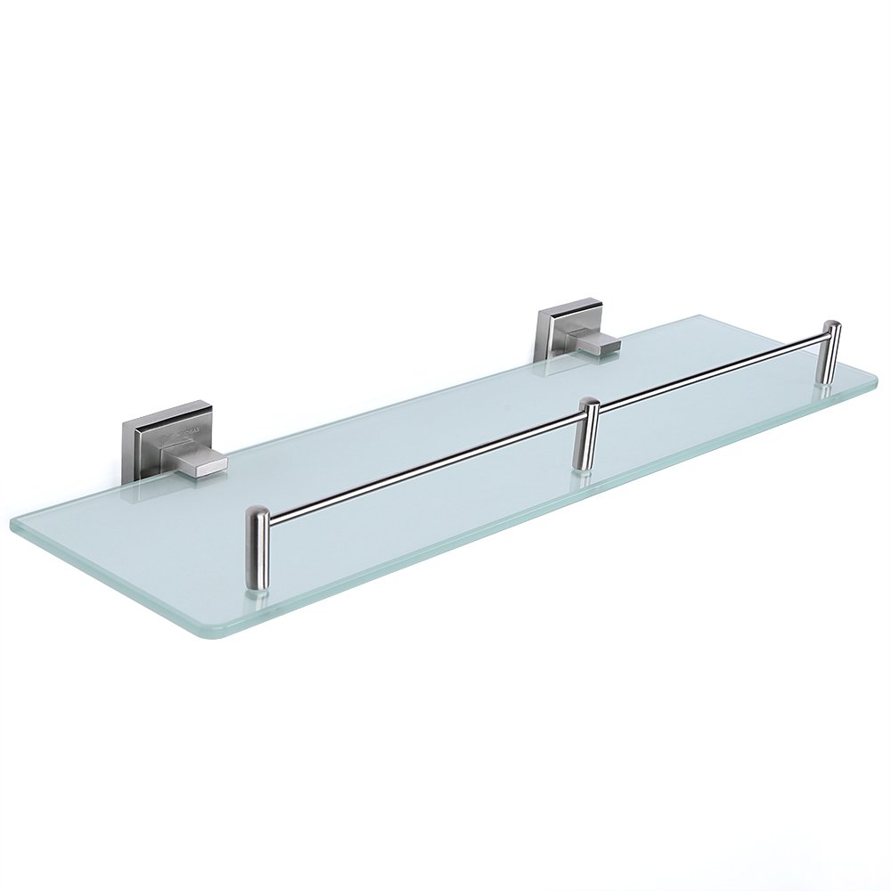 HOMEIDEAS Bathroom Frosted Glass Shelf 19.7-Inch Stainless Steel ...