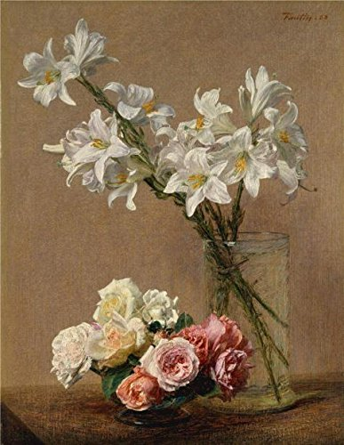 - 'Henri Fantin-Latour - Roses And Lilies' Oil Painting, 12x16 Inch / 30x39 Cm ,printed On Perfect Effect Canvas ,this Imitations Art DecorativeCanvas Prints Is Perfectly Suitalbe For Living Room Artwork And Home Decor And Gifts