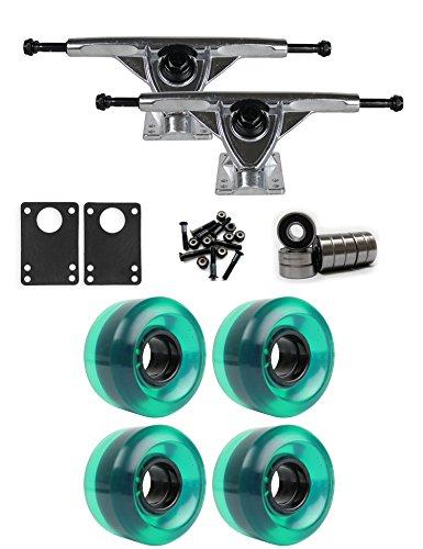 TGM Skateboards RKP Raw Longboard Trucks Wheels Package 58mm x 36mm 83A 341C Green Clear