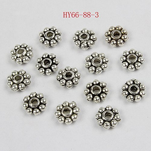 HYBEADS 200PCS 6mm Tibetan antique Silver daisy spacer beads