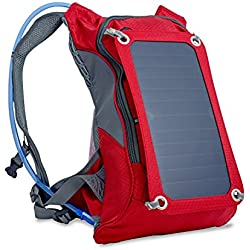 Ergonomic Solar Charger Backpack (7W), Hydration Pack Backpack (2L Bladder Bag), With Removable Solar Panel Charging for iPhone 6 plus 5s 5c 5 4s 4, ipad mini, Samsung Galaxy S5, Blackberry (Red)