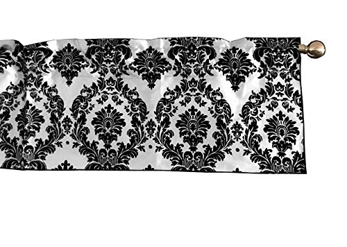 lovemyfabric Taffeta Damask Print Kitchen Curtain/Valance Window Treatment 56 Inch Wide 14 Inch Long (Black on White)