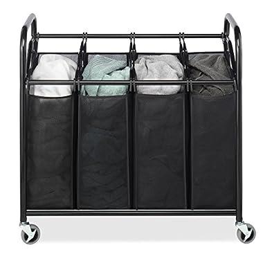 Whitmor Black 4-Section Laundry Sorter - Laundry Room Organizer