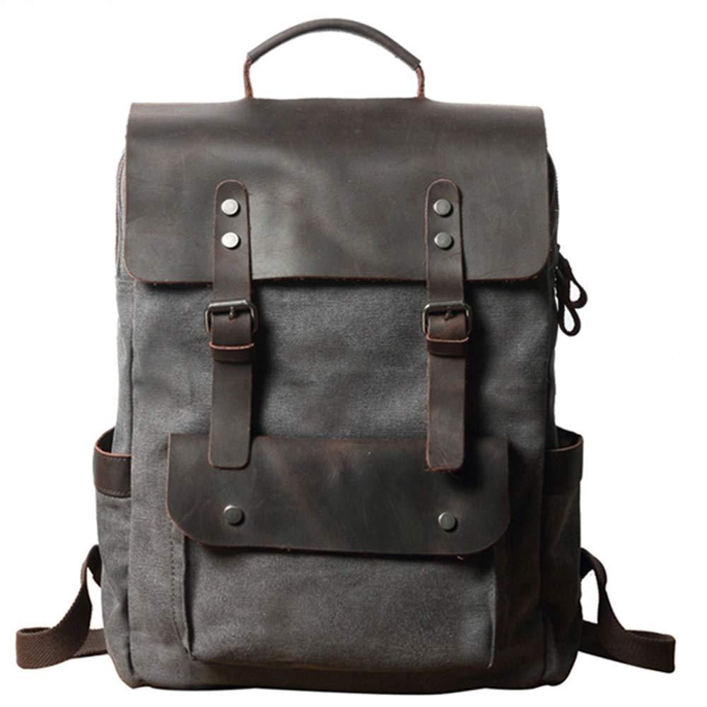 schwarz HRUIIOIH Leder Canvas Rucksack, Casual Travel Schultasche passt 15,6 Zoll Laptop Outdoor Sports Daypack College Style für Männer, Frauen, Jungen, Mädchen