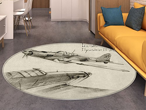 Airplane Round Rugs for Bedroom Hand Drawn Series Soviet Military Enginery Jets Flights World War Aviation Sketch Circle Rugs for Living Room Black ()