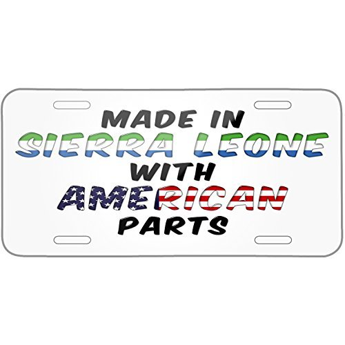 American Parts but Made in Sierra Leone Metal License Plate 6X12 Inch Plate Sierra Part