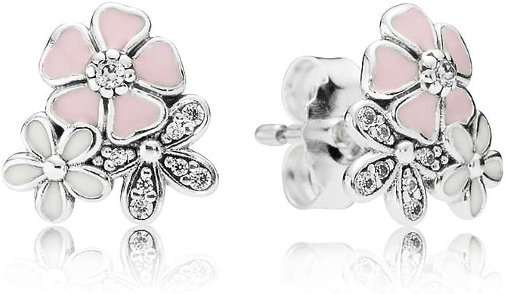 Stonebeads Pendientes Floración Poética en plata de primera ley, esmalte rosa y blanco y circonitas cúbicas transparentes