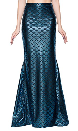 Ladies Shiny Stretch Blue Mermaid Skirt Full-Length