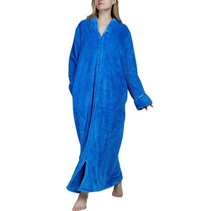 De Las Mujeres De Gran Tamaño Zip Fleece Bata De Longitud Completa De Franela Suave Robe Toweling Albornoz Ropa De Dormir Abrigo De Casa: Amazon.es: Ropa y ...