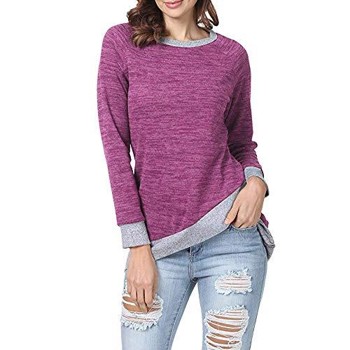 Blouse Vrac Unie Shirt Dcontract Rouge Patchwork Bringbring Automne Couleur Longues Femme Hauts en Manches T Chemisier 0wvAaqfx