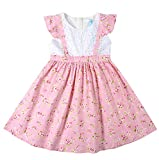Sharequeen Girl's Toddler Dress Apron Style Floral Lace Ruffle Cap Sleeves Cotton Girls Dresses SQ041 (1-2 Years, Pink)