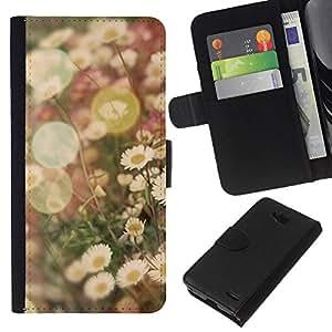 KingStore / Leather Etui en cuir / LG OPTIMUS L90 / Vignette champs de fleur de marguerite