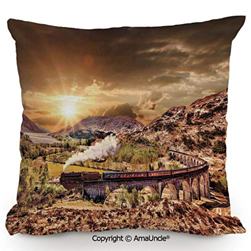 Express Train Bed Tent - SCOXIXI Personality Customization Pillow Wizard School Express Famous Train Landscape Glenfinnan Railway Viaduct Scotland Sunset,W18xL18 Inches