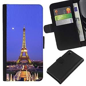 KingStore / Leather Etui en cuir / Sony Xperia Z3 D6603 / Arquitectura Torre Eiffel Luna Noche