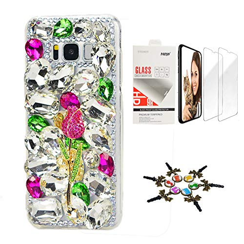 STENES Galaxy Note 9 Case - Stylish - 3D Handmade [Sparkle Series] Bling Rose Design Cover Compatible with Samsung Galaxy Note 9 with Screen Protector [2 Pack] - Hot Pink&Green Design Rhinestone Protector Case