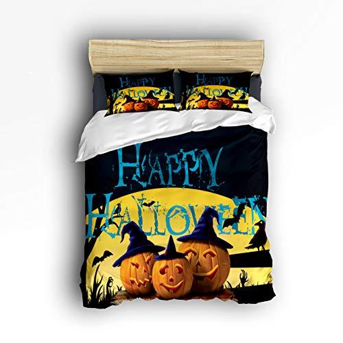 Cloud Dream Home 4 Piece Bedding Set,Happy Halloween Pumpkin Duvet Cover Set Quilt Bedspread for Childrens/Kids/Teens/Adults King Size(Extra Large) -
