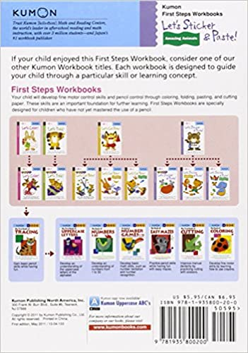 Counting Number worksheets kindergarten cut and paste worksheets free : Let's Sticker & Paste: Amazing Animals (Kumon First Steps ...