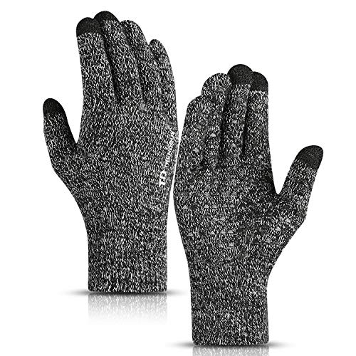 (TRENDOUX Winter Gloves, Knit Touch Screen Glove Men Women Texting Smartphone Driving - Anti-Slip - Elastic Cuff - Thermal Soft Wool Lining - Hands Warm in Cold Weather - Black White - M)