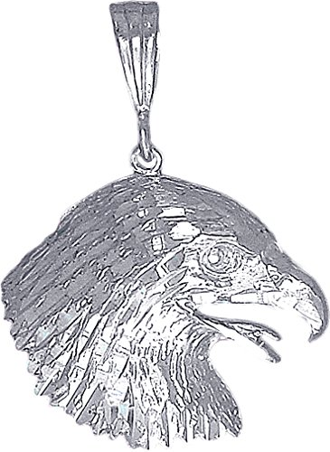 eJewelryPlus Sterling Silver Eagle Head Charm Pendant Necklace Diamond Cut Finish with Chain (With 24