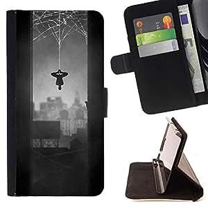BullDog Case - FOR/Apple Iphone 6 PLUS 5.5 / - / SPIDER HERO COMIC CHARACTER GREY WEB /- Monedero de cuero de la PU Llevar cubierta de la caja con el ID Credit Card Slots Flip funda de cuer