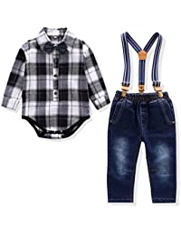 Baby Boy Outfit, Toddler Suspenders Romper Set with Jeans...