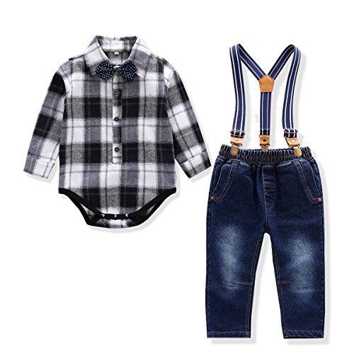 Baby Boy Outfit, Toddler Suspenders Romper Set with Jeans & Romper & Bow Tie Black 6-9 Months (Baby Santa Outfit For Boy)