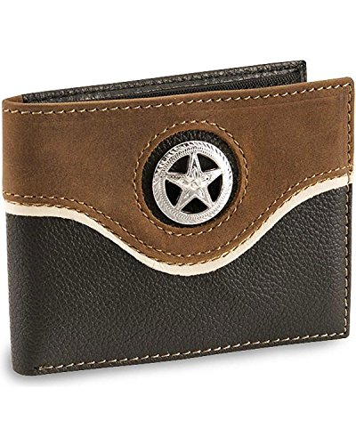 Nocona Men's Star Concho Bi-Fold Leather Wallet Black One Size (Nocona Concho)