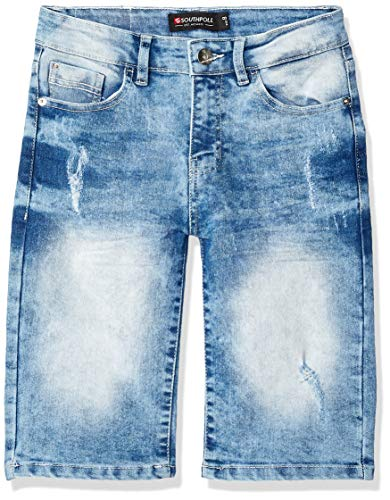Southpole - Kids Boys' Big Basic Denim Shorts, Light Sand Blue, 10