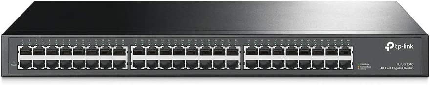 TP-Link 48 Port Gigabit Ethernet Switch | Plug and Play | Sturdy Metal w/ Shielded Ports | Rackmount | Fanless | Limited Lifetime Protection | Traffic Optimization | Unmanaged (TL-SG1048)