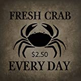 ''Fresh Crab Every Day #2'' Funny Relax Novelty Metal Sign Wall Decor Dark Grey Background