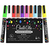Chalk Markers Fine Tip - Pack of 10 neon Colour Pen - Use on Chalkboard, Whiteboard, Window, Blackboard - 3 mm Reversible Bullet & Chisel Nib