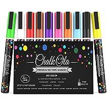 Chalk Markers Fine Tip - Pack of 10 neon Colour Pen - Use on Chalkboard, Whiteboard, Window, Blackboard - 3 mm Reversible Bullet & Chisel Nib