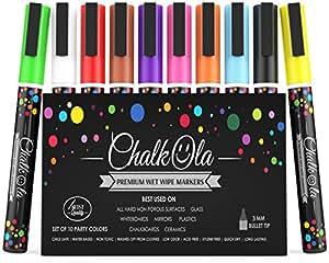 Fine Tip Chalk Markers - Pack of 10 neon color pens - Non-Toxic Wet Erase Chalkboard, Whiteboard, Window Glass Pen - 3mm reversible bullet & chisel nib