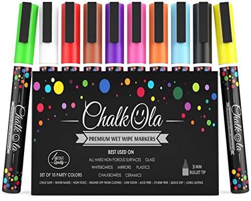 Fine Tip Chalk Markers - Pack of 10 neon color pens - Non Toxic Wet Erase Chalkboard Window Glass Pen - 3mm reversible bullet & chisel -