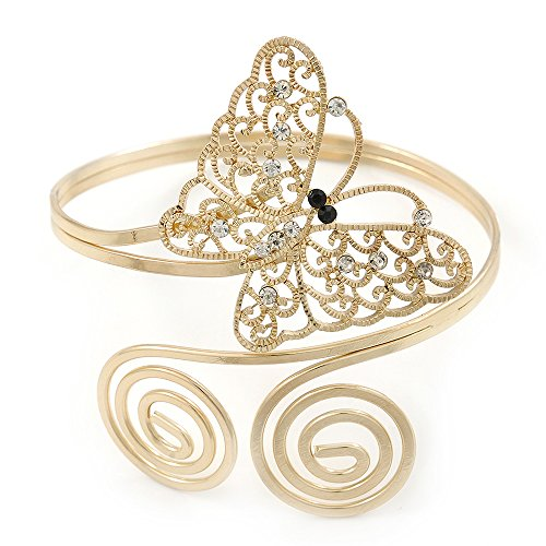 Avalaya Gold Plated Filigree, Crystal Butterfly & Twirl Upper Arm, Armlet Bracelet - Adjustable