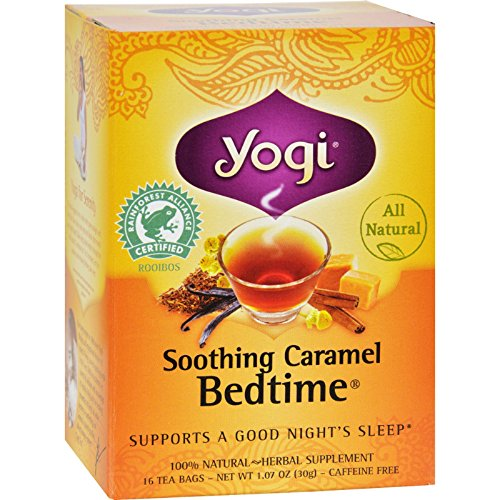 Yogi Bedtime Herbal Tea Caffeine Free Soothing Caramel - 16 Tea Bags - Case of 6 - Yogi Caffeine Free Tea