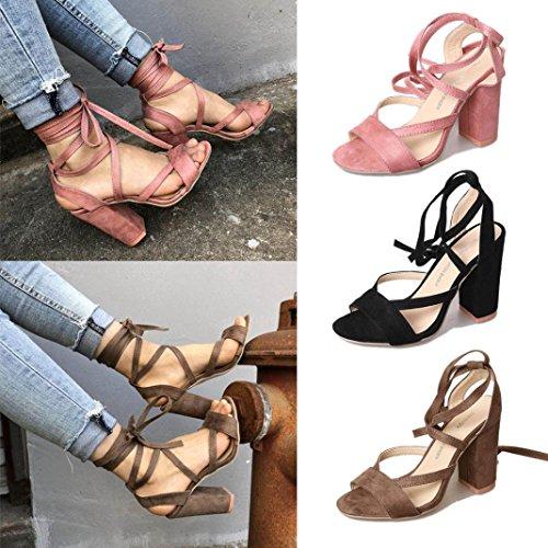 Upxiang Damenschuhe/High Heels Sandalen/Damen Ankle Straps Sandalen/Lack Mid Heel Sandalen Damen Fashion Party Open Toe Schuhe Schwarz