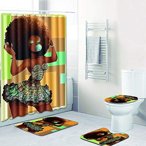 (LLWWRR1 Sexy Skirt Girl Bathroom Curtain Waterproof Fabric Blowing Bubble Gum Curls African Women Shower Curtain and Bath Mat Cover Set,1)